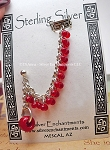 Chainmaille Earcuff Slave Earring, Sterling Silver Beaded Cuff Earring, Red