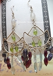 Gypsy Moon Earrings, Rainbow Moonstone Peridot Garnet Iolite Blue Topaz Sterling Silver