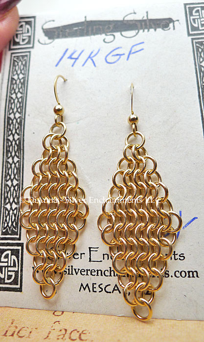 filled chain earrings karat chainmaille maille diamond gold