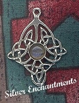 Sterling Silver Celtic Diamond Knot Pendant with Gemstone, CUSTOM MADE
