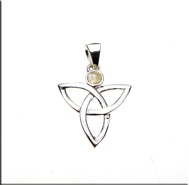 Silver Triquetra Pendant with Rainbow Moonstone, Celtic ...
