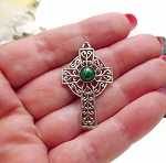 Sterling Silver Filigree Celtic Cross Pendant with Gemstone - CUSTOM MADE
