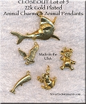 Gold Plated Animal Charms and Pendants, Lot of 5, Lot #3, CLOSEOUT