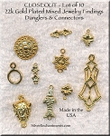 Gold Plated Mixed Jewelry Findings, Lot of 10, Lot #9, CLOSEOUT