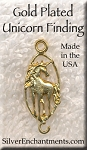 Gold Plated Unicorn Jewelry Connector, Unicorn Finding