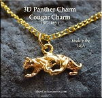 Gold Plated Cougar Charm, Panther Charm, 3D Cat Charm