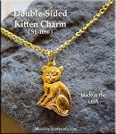 Gold Plated Double-sided Kitten Charm