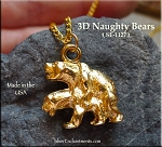 MATURE Gold Plated Naughty Bears Pendant, 3D