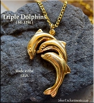 Gold Plated Triple Jumping Dolphins Pendant - CLOSEOUT