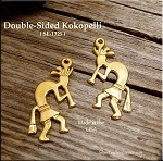 Gold Plated Double Sided Southwestern Kokopelli Pendant, CLOSEOUT