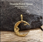 Gold Plated Double-sided Moon Charm, Bailed with Dangle Area - CLOSEOUT