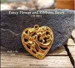 Gold Plated Fancy Heart Pendant with Ribbon and Flowers - CLOSEOUT