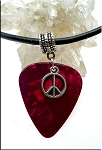 SOLD - Peace Sign Guitar Pick Pendant Necklace, Red