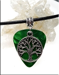 SOLD - Tree of Life Guitar Pick Pendant Necklace, Green