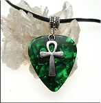 Ankh Guitar Pick Pendant Necklace, Green
