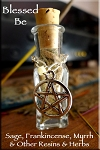 BLESSED BE Loose Incense Witch Bottle with Charm - Purification, Consecration - Sage, Frankincese, Myrrh