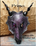 SOLD - Leather Dragon Mask Pendant - PRIMO