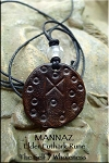 SOLD - Leather MANNAZ Elder Futhark Rune Necklace - The Self and Wholeness