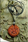 SOLD - Leather Pentacle Necklace - Pagan Jewelry