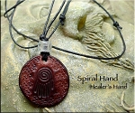 Leather HEALER'S HAND Necklace - Spiral Hand, Reiki Jewelry