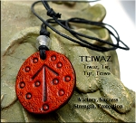 Leather Rune Necklace - TEIWAZ Rune Necklace - Victory, Strength, Success, Protection