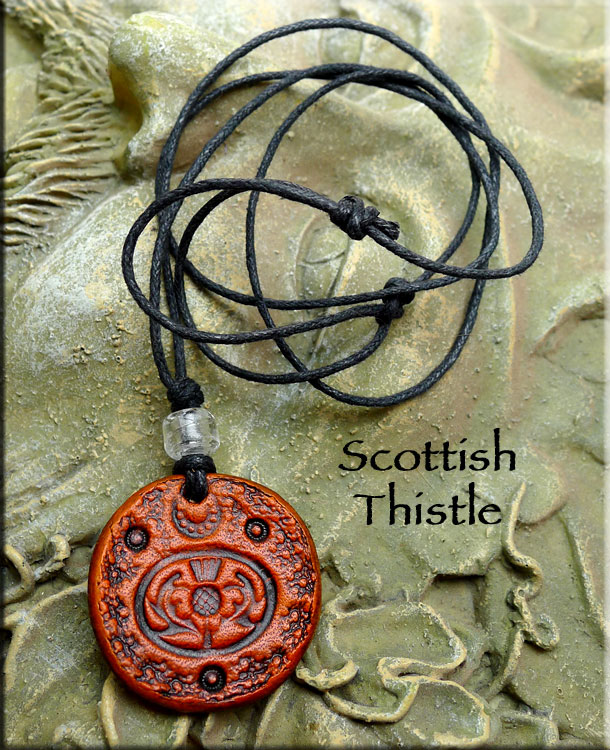 Leather Scottish Thistle Necklace Protection Valor