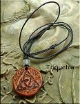 SOLD - Leather Triquetra Necklace, Celtic Jewelry