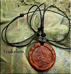 Leather Triskelion Necklace, Celtic Jewelry
