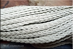 5mm Flat Braided Leather Cord by the Yard, WHITE
