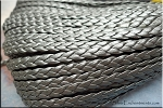 5mm Flat Braided Leather Cord by the Yard, METALLIC SILVER PEWTER GREY