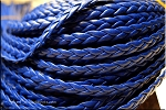 5mm Flat Braided Leather Cord by the Yard, NAVY BLUE