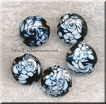 Black and White Glass Bead, 18mm Swirled Lampworked Glass Focal Beads (1)