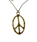 Large Peace Necklace, Hammered Peace Sign Pendant Necklace, Antique Brass Peace Symbol Jewelry