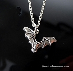 Silver Bat Necklace, Halloween Jewelry
