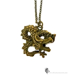 Dragon Necklace, Dragon Pendant Necklace, Brass Dragon Jewelry