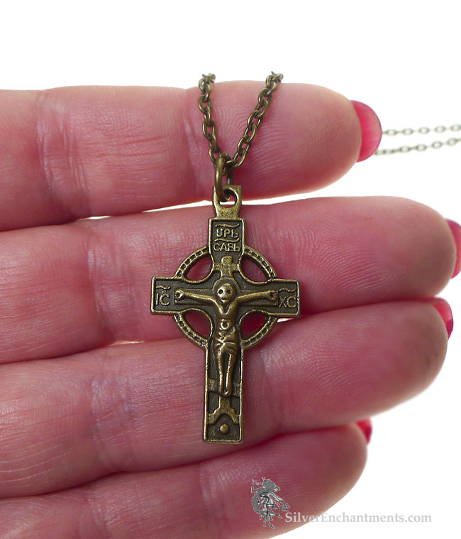 Bronze Orthodox Cross Necklace Double Sided Crucifix Necklace