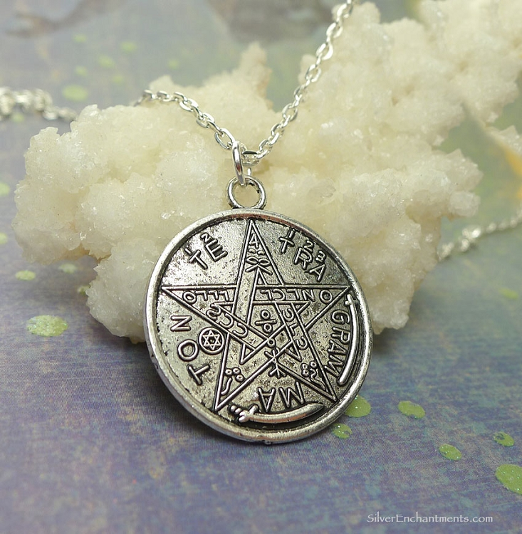 Tetragrammaton necklace everyday silver esoteric pentagram jewelry mozeypictures Gallery