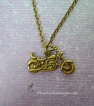 Motorcycle Necklace, Bronze Motorcycle Charm Jewelry