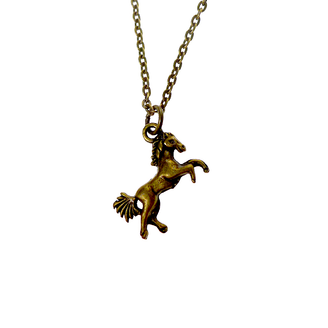 Brass horse necklace 3d double sided brass horse charm necklace brass horse necklace 3d double sided brass horse charm necklace equestrian jewelry mozeypictures Gallery