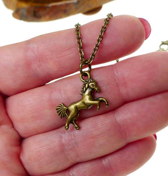 Brass Horse Necklace 3d Double Sided Brass Horse Charm