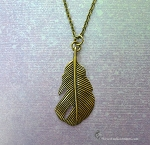 Feather Necklace, Bailed Feather Pendant Necklace, Antiqued Brass