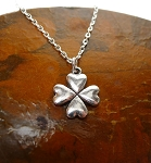Silver Shamrock Necklace, Clover Jewelry - Everyday Shamrock Jewelry