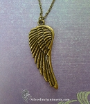 Large Angel Wing Necklace, Antique Bronze Angel Wing Pendant Necklace, Angel Jewelry
