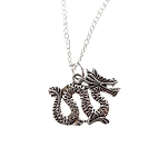 Dragon Necklace, Sinuous Double Sided Dragon Charm Necklace, Fantasy Jewelry