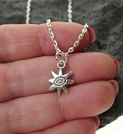 Sun Necklace with Evil Eye Warding Center - Everyday Silver Jewelry