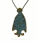 Large Arrowhead Necklace, Antiqued Brass Tribal Arrowhead Pendant with Verdigris Patina