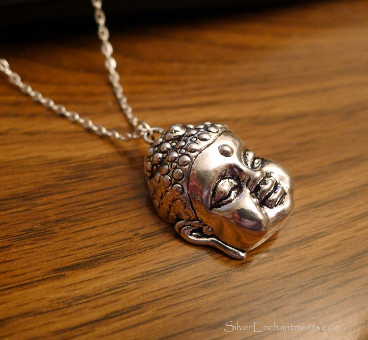 Silver Buddha Necklace Dimensional Zen Buddah Everyday