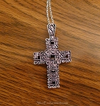 Silver Fancy Cross Necklace, Large Cross Pendant - Everyday Christian Jewelry