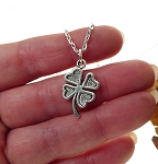 Silver Shamrock Necklace, Clover Charm Necklace - Everyday Shamrock Jewelry