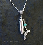 Bullet and Pistol Necklace with Turquoise, Southwestern Bullet Necklace, Cowgirl Jewelry